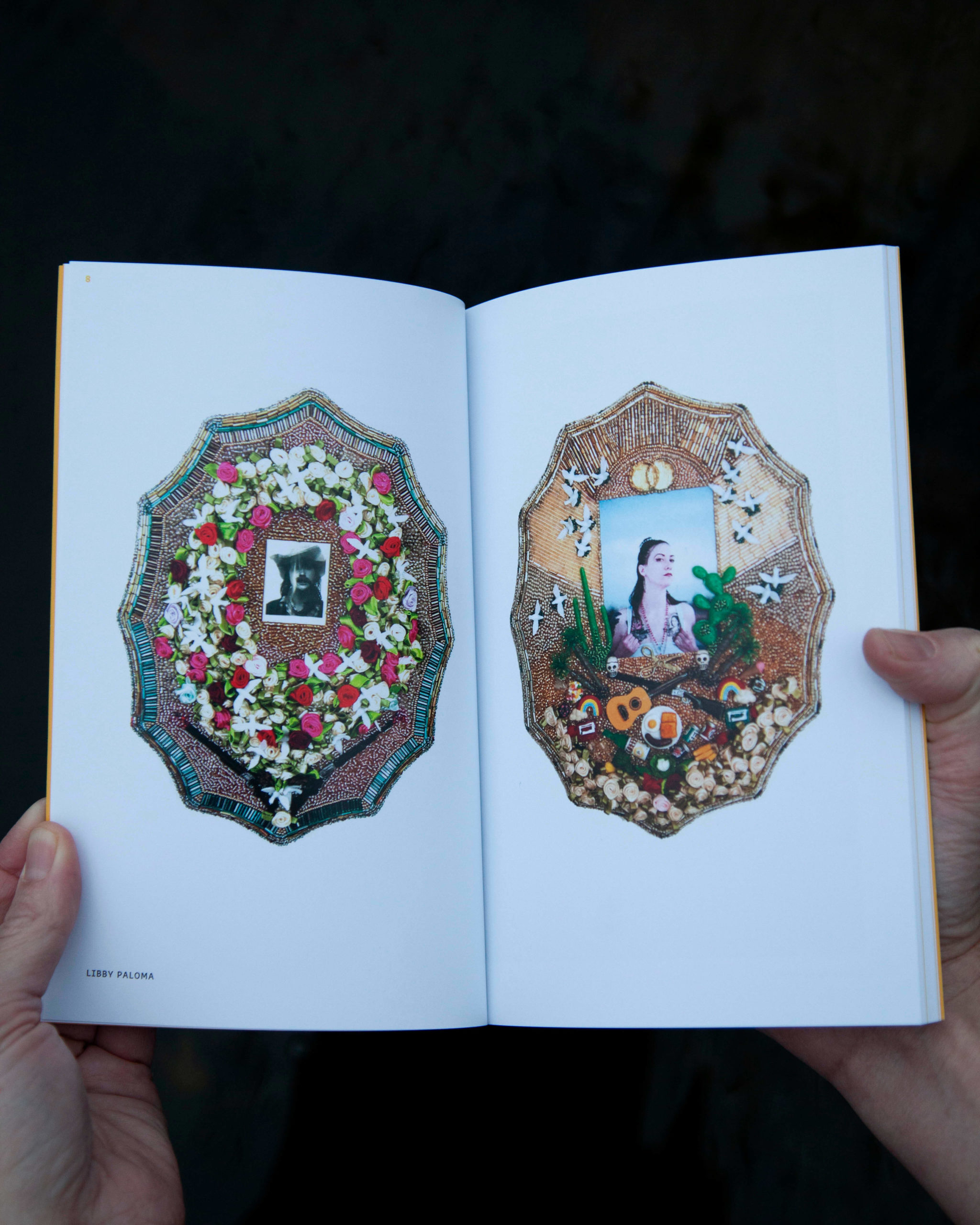 WMN Issue 1 Seasons of a DykeSpread with two photographs in heavily decorated oval frames