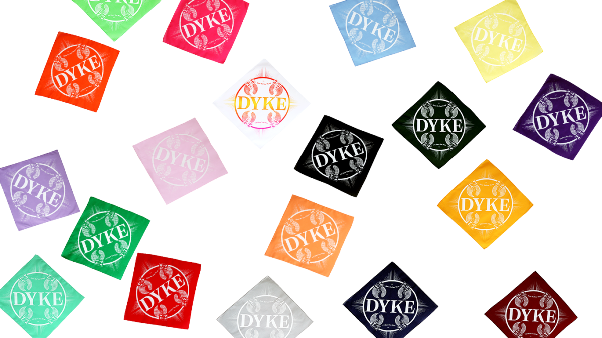 Photos of the DYKE color version hankies by WMN ZINE