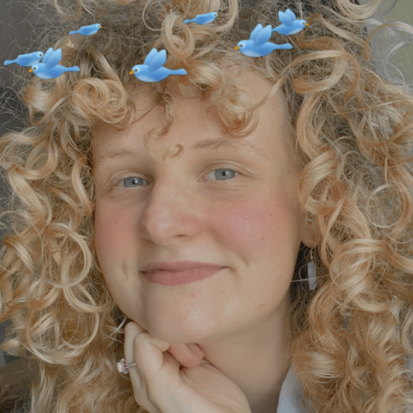 Portrait of the poet. They have blonde curly hair and some filter effect bird over their head.