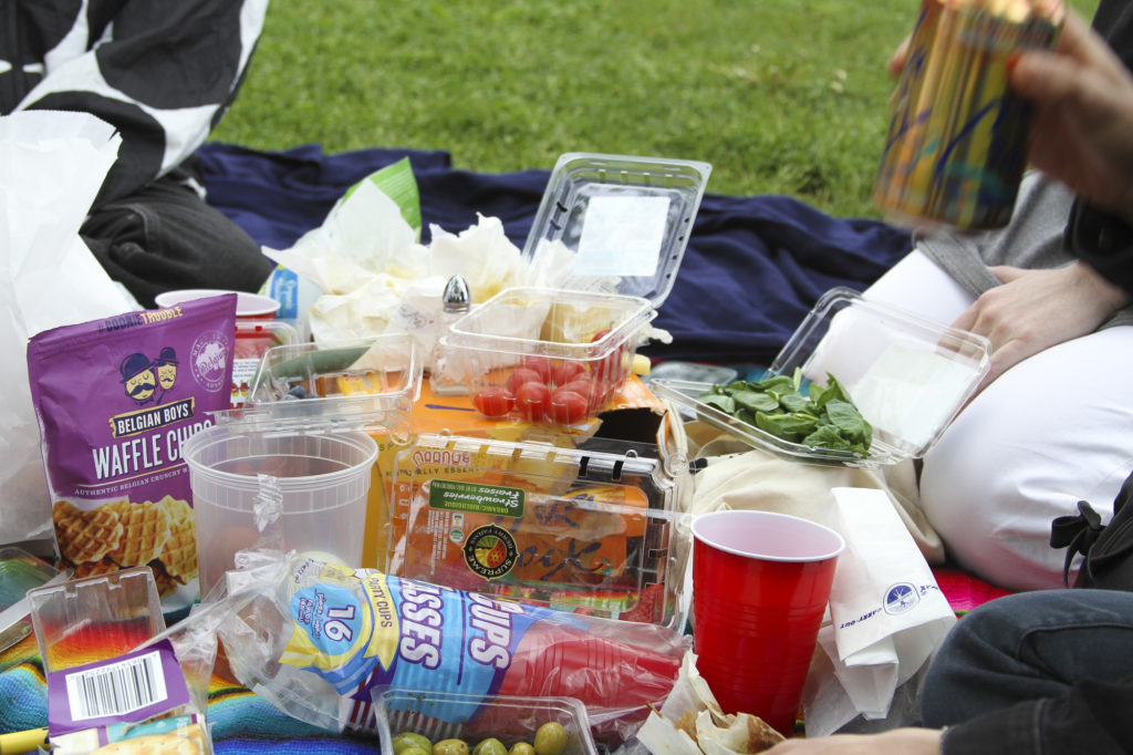 Food and drinks from the picnic.